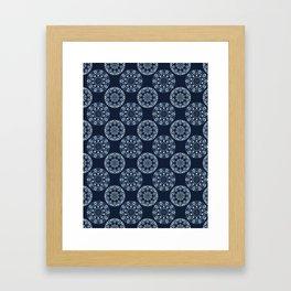 Indigo Circle Mandala Seamless Boho Style Framed Art Print