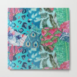 Tropical Patchwork Print Metal Print