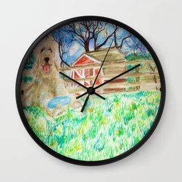 Goldendoodle Cuteness Watercolor Painting Wall Clock