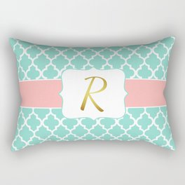 """Mint Green Lattice Pattern with Coral accents + Faux Gold Foil """"R"""" Monogram Rectangular Pillow"""