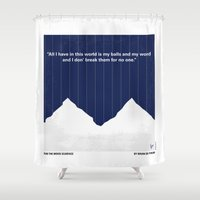cocaine Shower Curtains featuring No158 My SCARFACE minimal movie poster by Chungkong