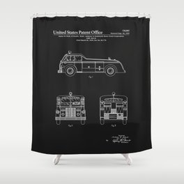 Firetruck Patent - Black Shower Curtain