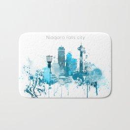 Niagara Falls Monochrome Blue Skyline Bath Mat