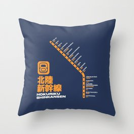 Hokuriku Shinkansen Train Station List Map - Navy Throw Pillow