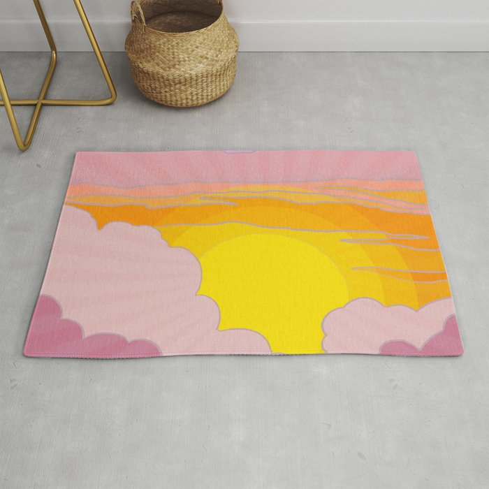 Sixties Inspired Psychedelic Sunrise Surprise Rug