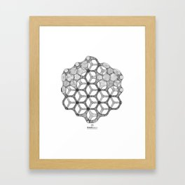 GEOMETRIC NATURE: COGNITIVE HEXAGON w/b Framed Art Print