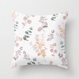 Watercolor Eucalyptus Cider Gum Leaves  Throw Pillow
