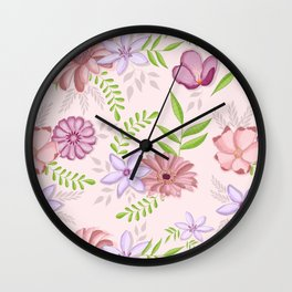 Flowers dancing around Wall Clock