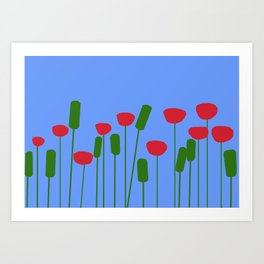 Poppies in blue Art Print
