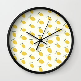 Summer Pastel Lemon Pattern  Wall Clock