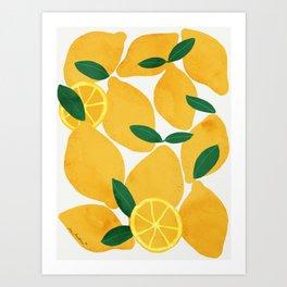 lemon mediterranean still life Art Print