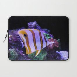 White and Yellow Butterfly Fish Laptop Sleeve