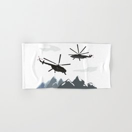Black Helicopters in the Mountains Hand & Bath Towel