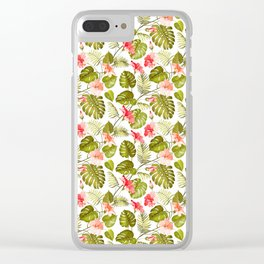 Tropical blush pink green modern vector floral pattern Clear iPhone Case