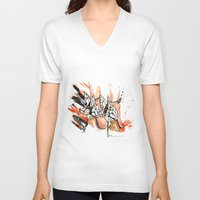 shoes V-neck T-shirts featuring Shoes by Sasha Spring Illustration