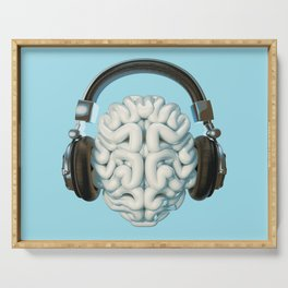 Mind Music Connection /3D render of human brain wearing headphones Serving Tray