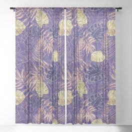 Tropical Leaves with Gold Monstera (Ultra Violet) Sheer Curtain