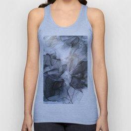Calm but Dramatic Light Monochromatic Black & Grey Abstract Unisex Tank Top