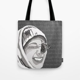 Happiness in Grayscale Tote Bag