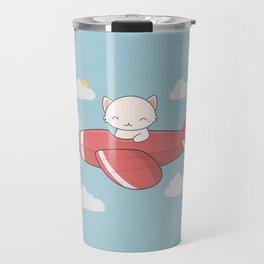Kawaii Cute Flying Cat Travel Mug