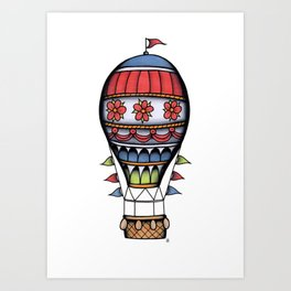 Traditional Hot Air Balloon Tattoo Art Print
