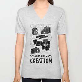 Weapons Of Mass Creation - Photography (blk on brown) Unisex V-Neck