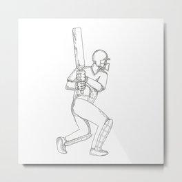 Cricket Batsman Batting Doodle Art Metal Print