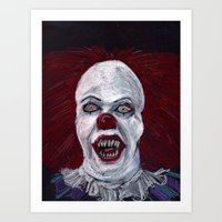 pennywise Art Prints featuring Pennywise by Eric Dockery
