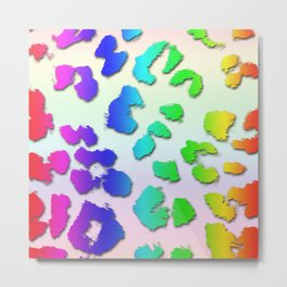 Rainbow Leopard Spots & Pastel Background Metal Print