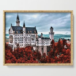 The Castle of Mad King Ludwig in the Autumn, Neuschwanstein Castle, Bavaria, Germany Serving Tray