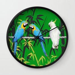 Kakadu - Macaw Bamboo Rope Jungle green Wall Clock
