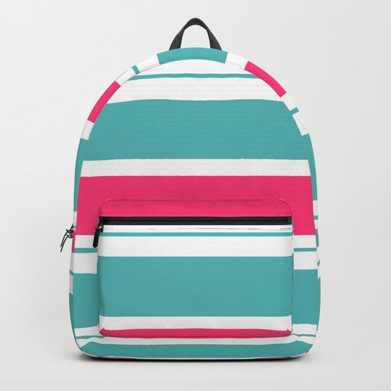 Turquoise And Fuschia Hot Pink Stripes Backpack