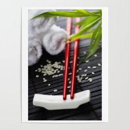 Chopsticks and towels - oriental style table serving Poster