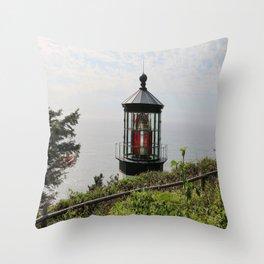 The Red Beacon On Tillamock Bay Throw Pillow