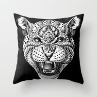 leopard Throw Pillows featuring Leopard by BIOWORKZ