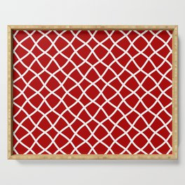 Classic red and white curved grid pattern Serving Tray