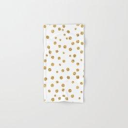 Gold glitter confetti on white - Metal gold dots Hand & Bath Towel