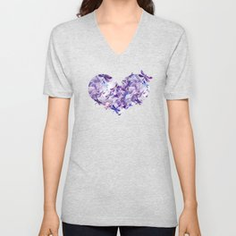 Dragonfly Lullaby in Pantone Ultraviolet Purple Unisex V-Neck