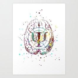Psychology symbol and brain Art Print