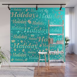 shiny font happy holidays in mint blue Wall Mural