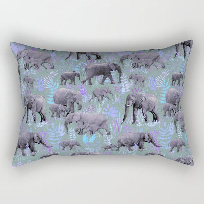 Sweet Elephants in Purple and Grey Rectangular Pillow
