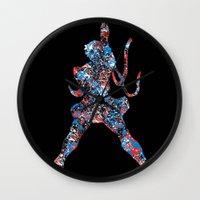 street fighter Wall Clocks featuring Street Fighter Sakura by vanityfacade