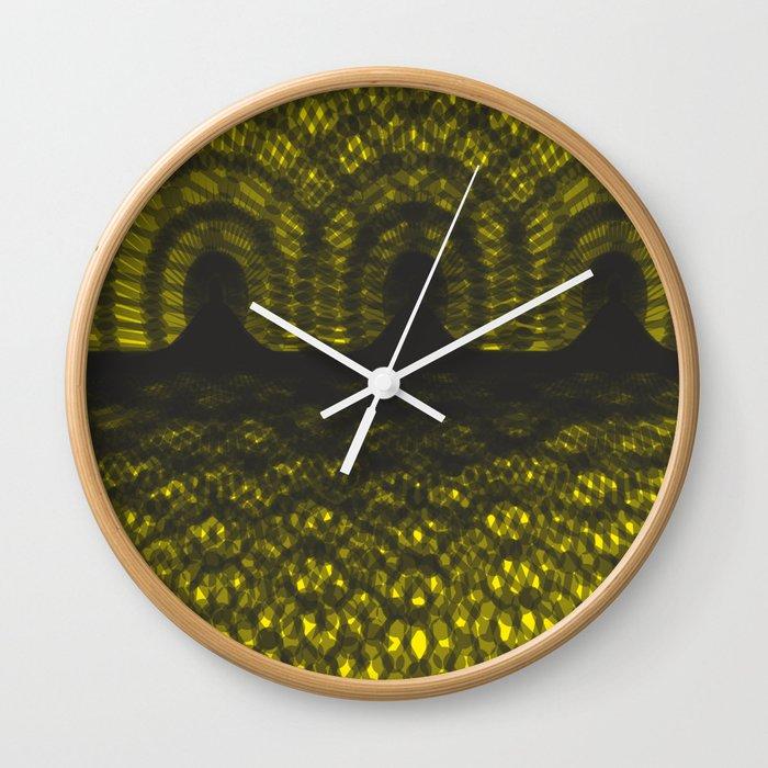 Lights. Black and yellow background #society6 #decor #buyart #artprint Wall Clock
