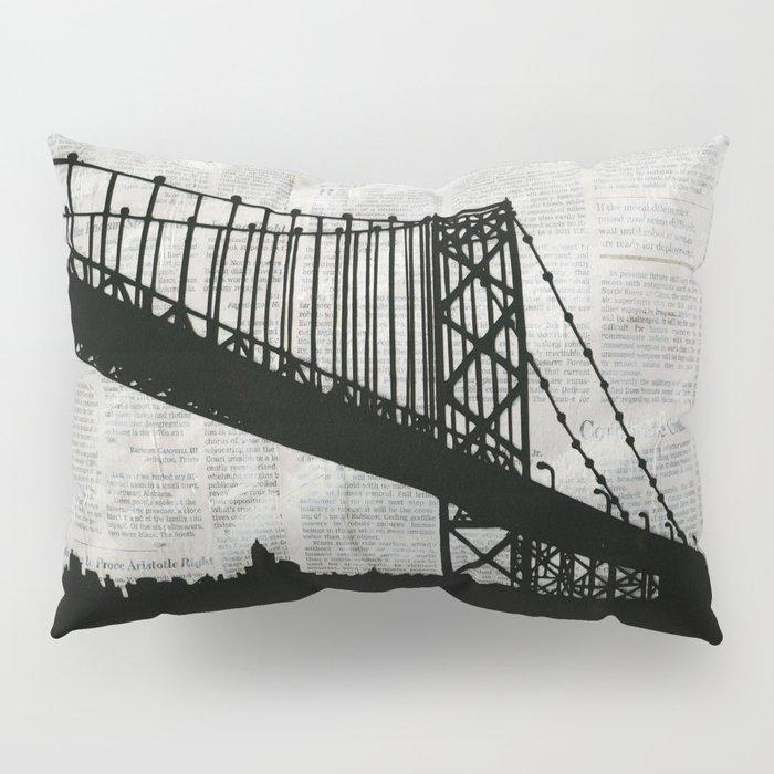 News Feed , Newspaper Bridge Collage Pillow Sham