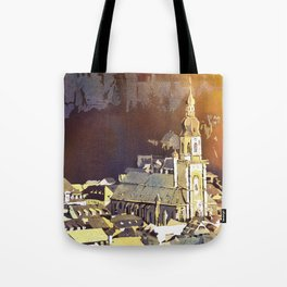 Watercolor painting of steeple of 13th century Church of the Holy Spirit in city of Heidelberg, Germany Tote Bag