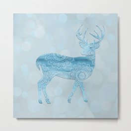 Aqua Blue Christmas Deer Metal Print