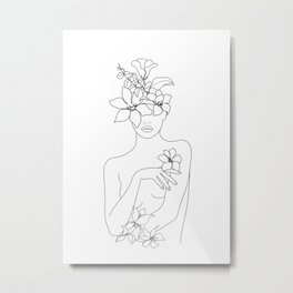 Minimal Line Art Woman with Flowers IV Metal Print