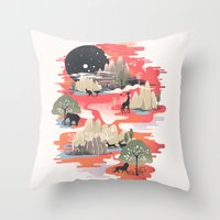 dreams Throw Pillows featuring Landscape of Dreams by dan elijah g. fajardo