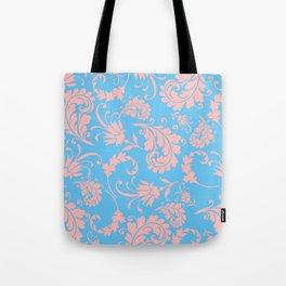 Vintage chic blue coral pink floral damask Tote Bag