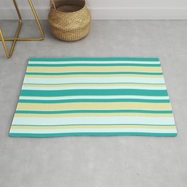 Light Sea Green, Pale Goldenrod & Light Cyan Colored Lined Pattern Rug
